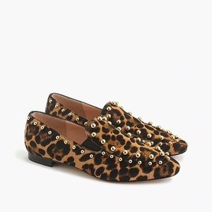 J. Crew Gold Studded Leopard Calf Hair Loafers 10